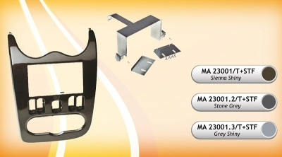 Ramka radiowa 2 DIN Dacia Duster, Logan, Sandero 2011-> STONE GREY