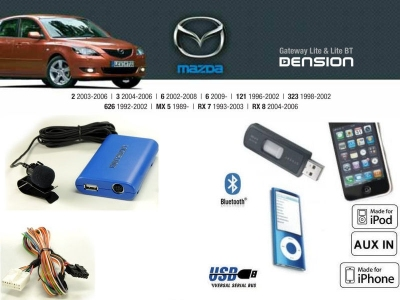 Cyfrowa zmieniarka Dension Bluetooth,USB,iPod,iPhone,AUX - Mazda 323,626,121,6,3,2