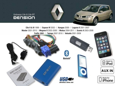 Cyfrowa zmieniarka Dension Bluetooth,USB,iPod,iPhone,AUX - Renault Clio,Laguna,Megane