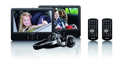 """Lenco DVP-939 2 x 9"""" przenośny odtwarzacz DVD z USB, SD, wbudowanym akumulatorem, słuchawkami i uchwytem"""
