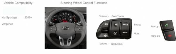 Adapter do sterowania z kierownicy Kia Sportage2010-> z fabrycznym wzmacniaczem CTSKI005.2