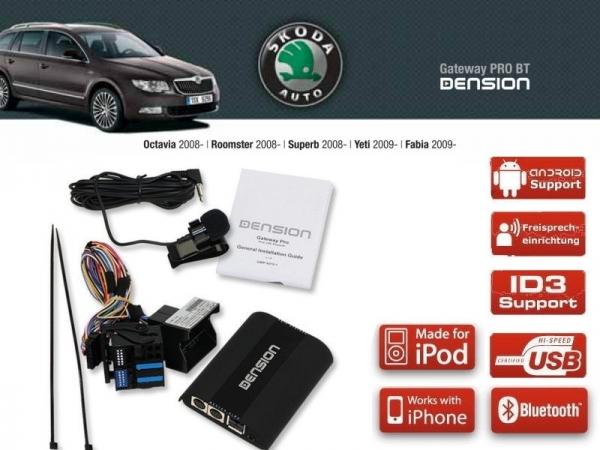 Dension Pro BT,AUX,USB,iPod,iPhone,ID3 - VW Skoda RCD310/510