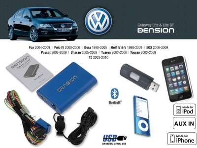 Cyfrowa zmieniarka Dension Bluetooth,USB,iPod,iPhone,AUX - Seat,Skoda,VW 12 pin
