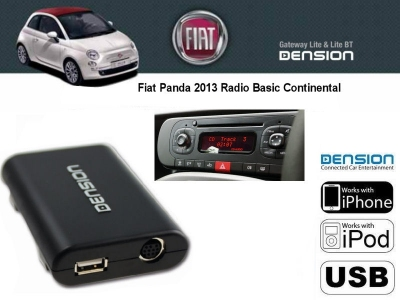 Cyfrowa zmieniarka Dension USB,iPod,iPhone,AUX - Fiat Panda 2013 Basic Continental