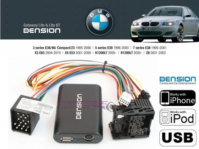 Cyfrowa zmieniarka Dension USB,iPod,iPhone,AUX - BMW E46,E39,E38,X3,X5 17 PIN
