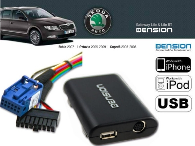 Cyfrowa zmieniarka Dension USB,iPod,iPhone,AUX - Skoda Stream