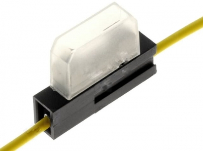 Oprawa bezpiecznika nożowego. Przewód 2,5mm2 żółty