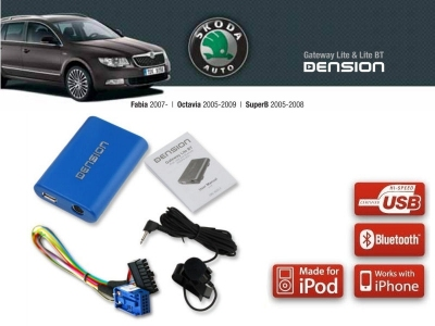 Cyfrowa zmieniarka Dension Bluetooth,USB,iPod,iPhone,AUX - Skoda Fabia, Octavia Stream