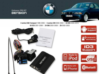 Dension Pro BT,AUX,USB,iPod,iPhone,ID3 - BMW