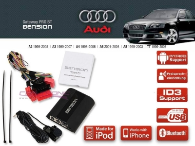 Dension Pro BT,AUX,USB,iPod,iPhone,ID3 - Audi A4,A3,A6,A8,TT