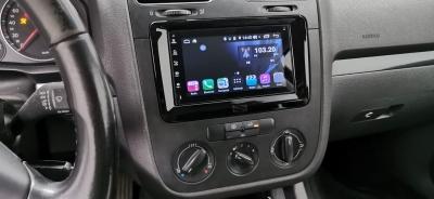 Ramka radiowa 2 DIN VW Golf, Jetta, Passat, T5, T6, Seat, Skoda Octavia II czarny błyszczący
