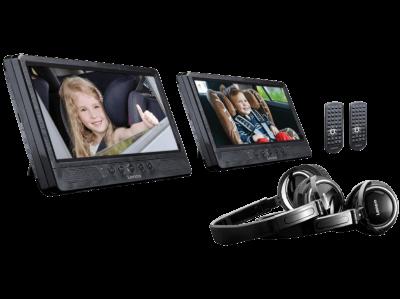 """Lenco DVP-1045 2 x 10"""" przenośny 10"""" odtwarzacz DVD z USB, SD, uchwytem samochodowym i słuchawkam"""