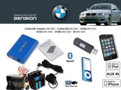 Cyfrowa zmieniarka Dension Bluetooth,USB,iPod,iPhone,AUX - BMW E46,E39,X3,X5,Z4 Mini