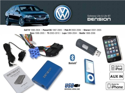 Cyfrowa zmieniarka Dension Bluetooth,USB,iPod,iPhone,AUX - VW,Seat,Skoda