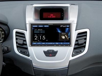 Ramka radiowa 2 DIN Ford Fiesta (JA8) 10/2008 - 2013 z fabrycznym wyświetlaczem srebrna