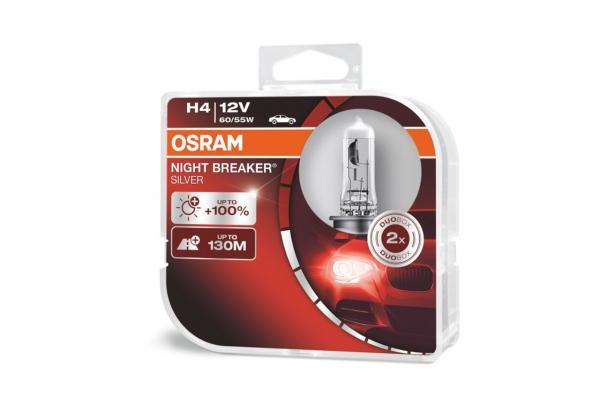 Halogen Bulb Osram H4 12V NIGHT BREAKER SILVER +100%