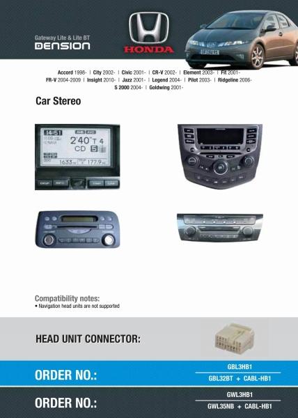 Cyfrowa zmieniarka Dension Bluetooth,USB,iPod,iPhone,AUX - Honda Civic,Accord,CR-V,Jazz