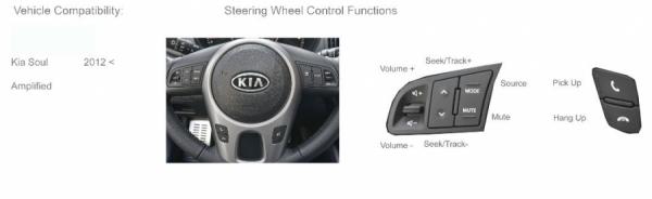 Adapter do sterowania z kierownicy Kia Soul 2012-> z line level amplified CTSKI006.2