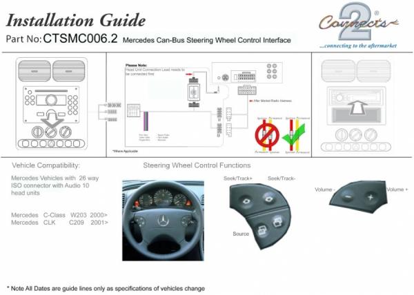 Adapter do sterowania z kierownicy Mercedes C-Klasse (W203), CLK CTSMC006.2